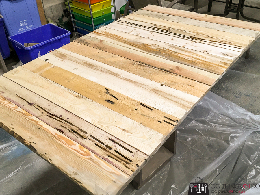 Using pallet boards to create a desk surface