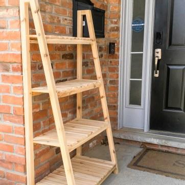 freestanding plant shelf, plant shelves, cedar plant stand, plant stand, Crate & Barrel knock-off, DIY plant stand