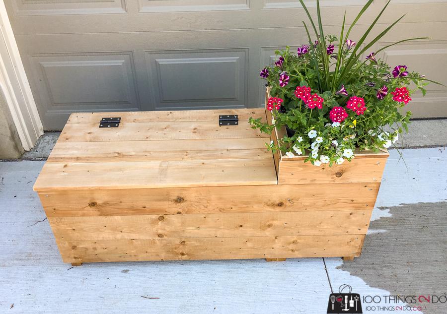 Porch planter bench, porch planter, DIY bench, storage bench, porch bench, DIY planter