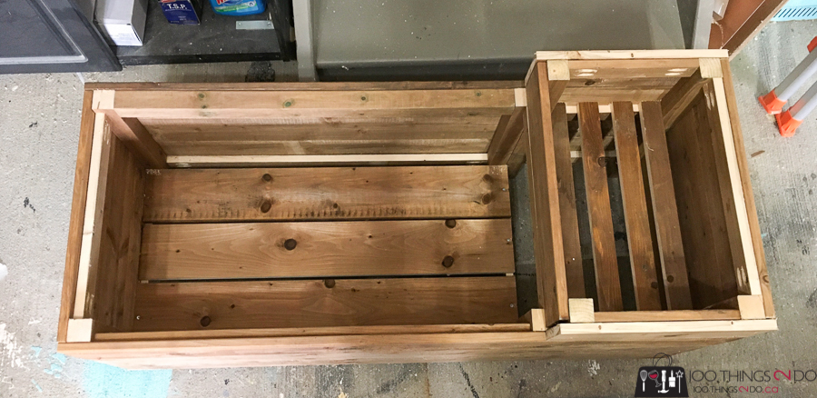 inside of porch planter bench