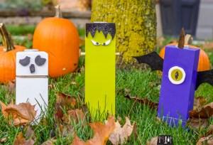 Wood Frankenstein, wood ghost, wood purple people eater