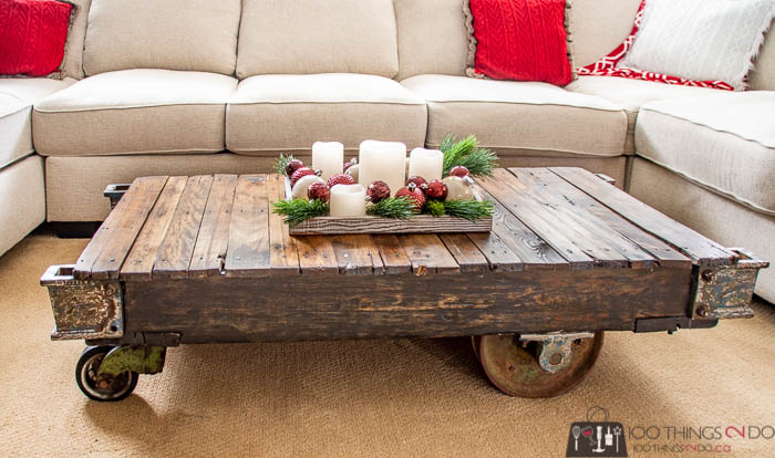 industrial cart makeover, industrial cart to coffee table
