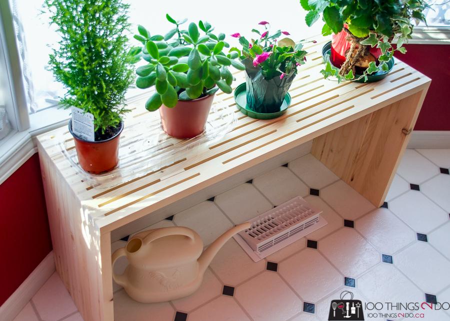 Slatted plant stand, DIY plant stand, DIY plant shelf