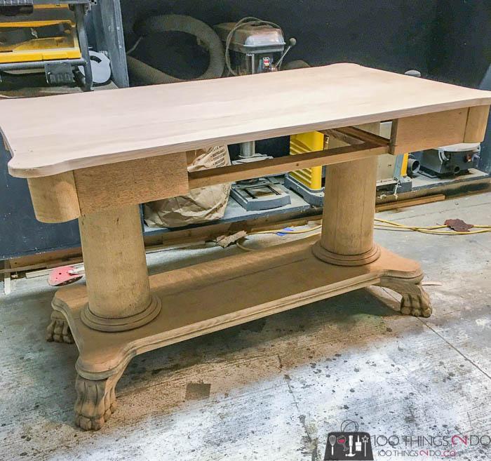 new oak top on antique desk