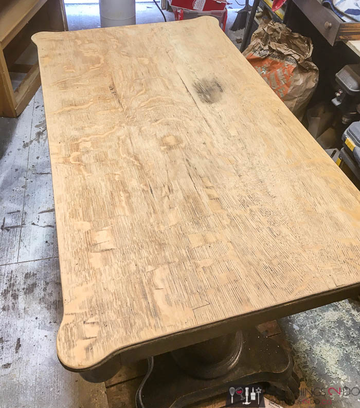 antique desk after sanding