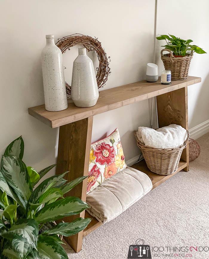 DIY console table, DIY sofa table, DIY entryway table