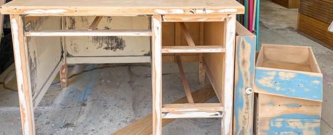 sanding down an old desk