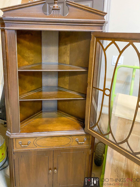 Grandma's corner cabinet - before