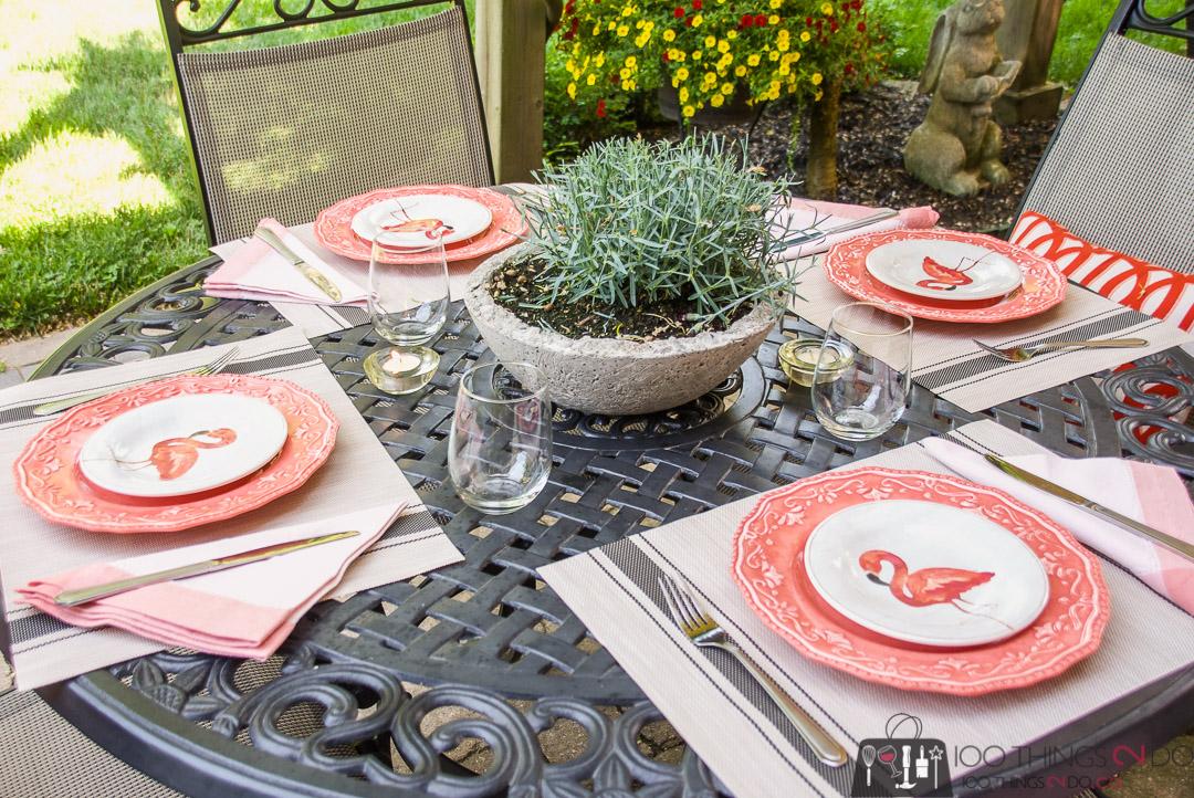 flamingo plats, patio dining, outdoor dining, patio table