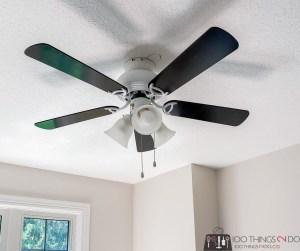 ceiling fan update, updating an old ceiling fan, spray painting a ceiling fan