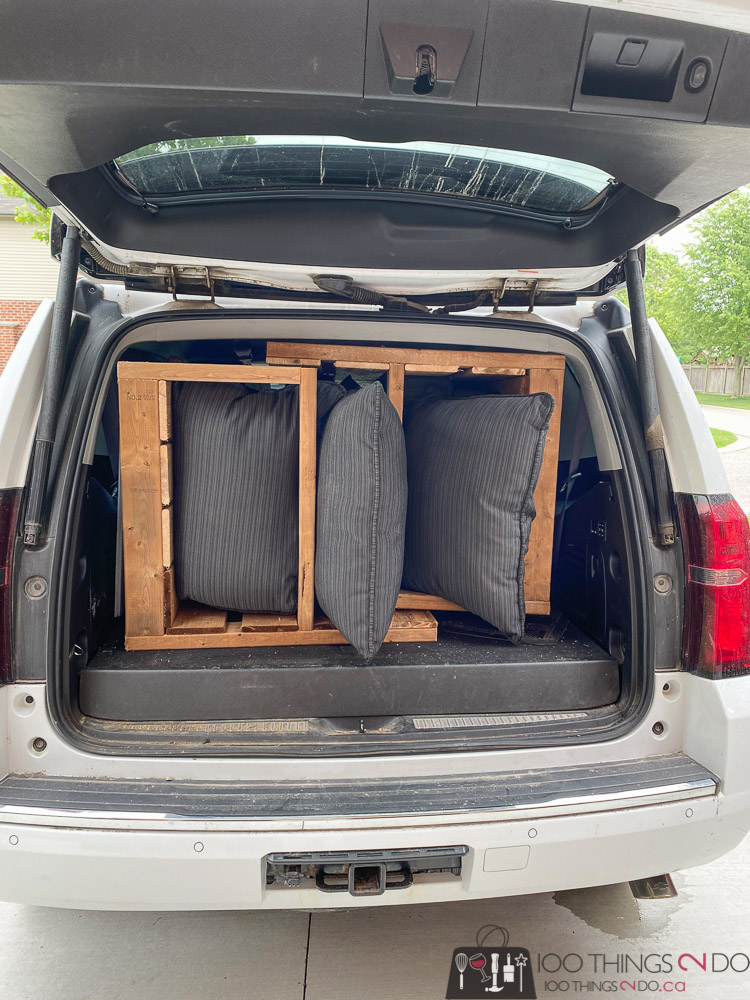 fitting porch swings into the truck