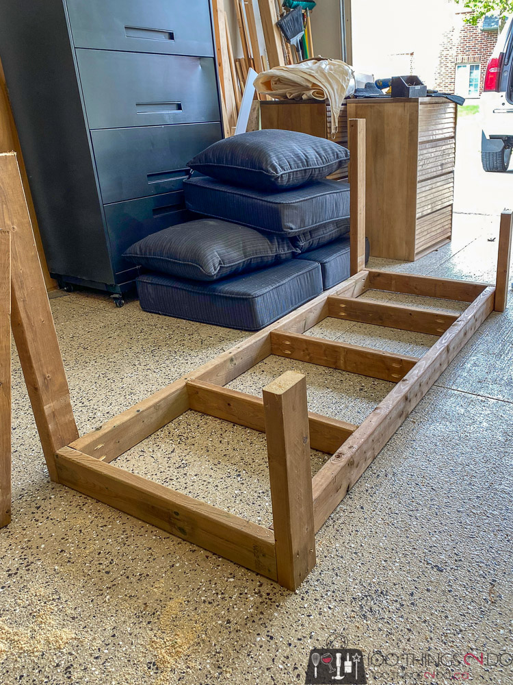 attaching arms and back to porch swing