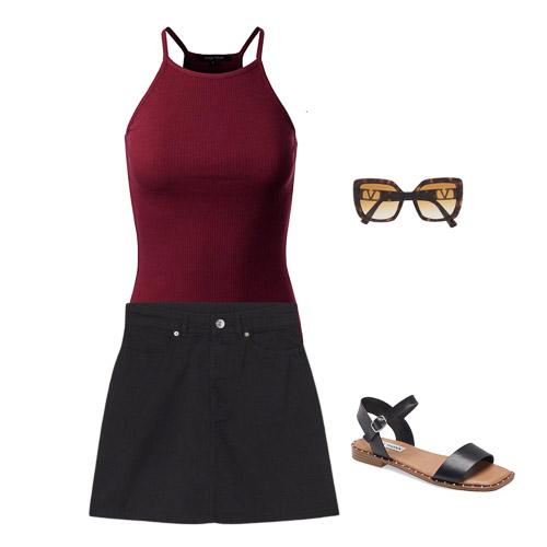 red tank, black skirt, Summer capsule wardrobe