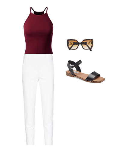 red tank and white capris, Summer capsule wardrobe