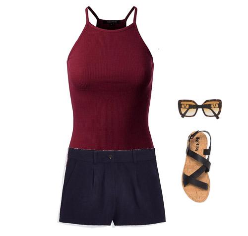 red tank, navy shorts