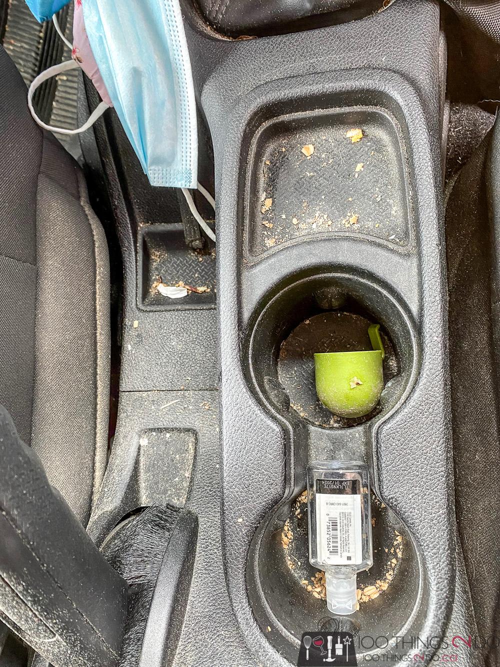 dirty car console