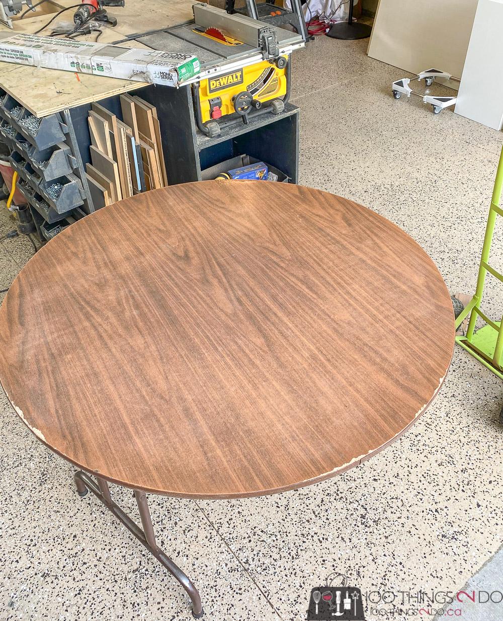 damaged card table, damaged game table, damaged folding table