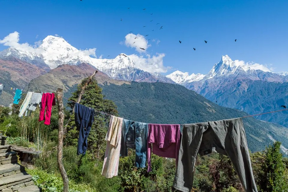 Clothes hanging on wire, Annapurna