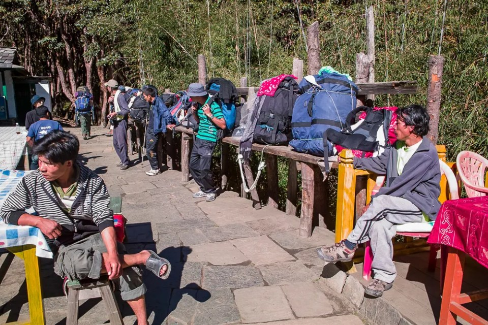 Porters resting, Himalaya