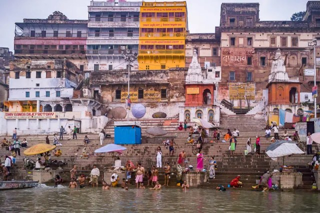 People bathing in Ganga River