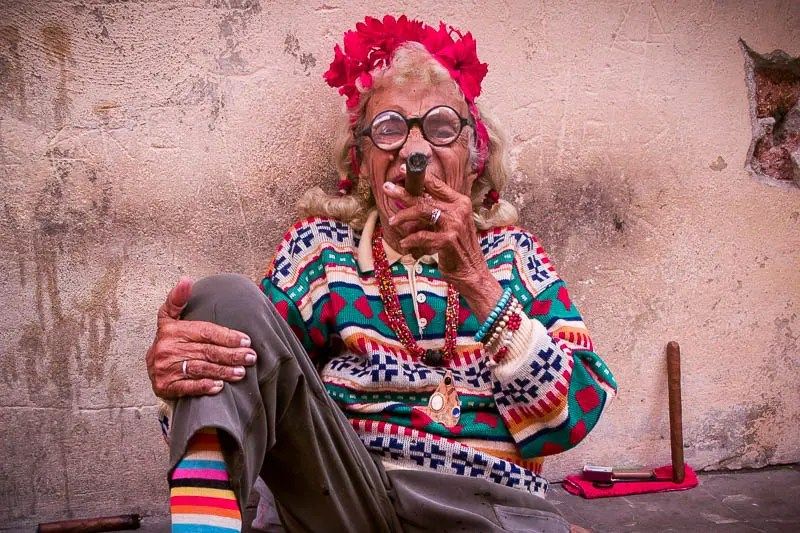 Cuban grandma smoking cigar