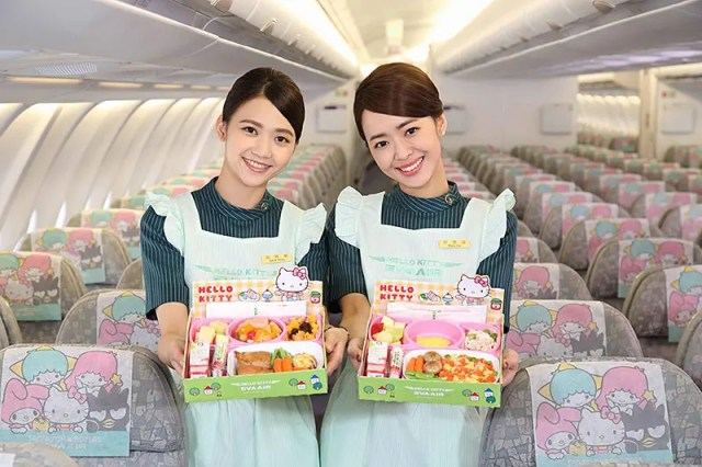 "Eva Air flight attendants with ""Hello Kitty"" meals (photo credit: Star Alliance)"