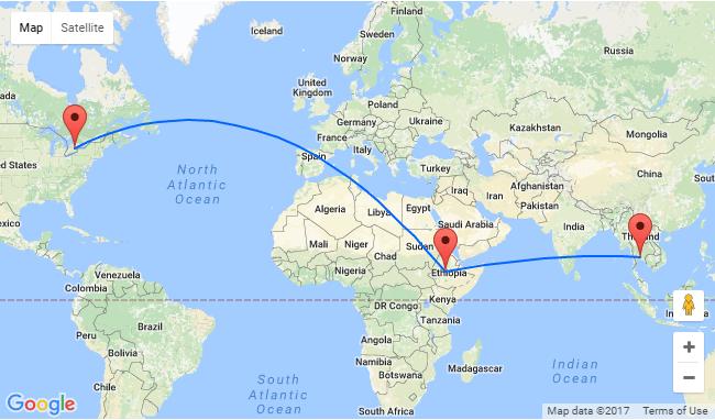 Toronto - Addis Ababa - Bangkok