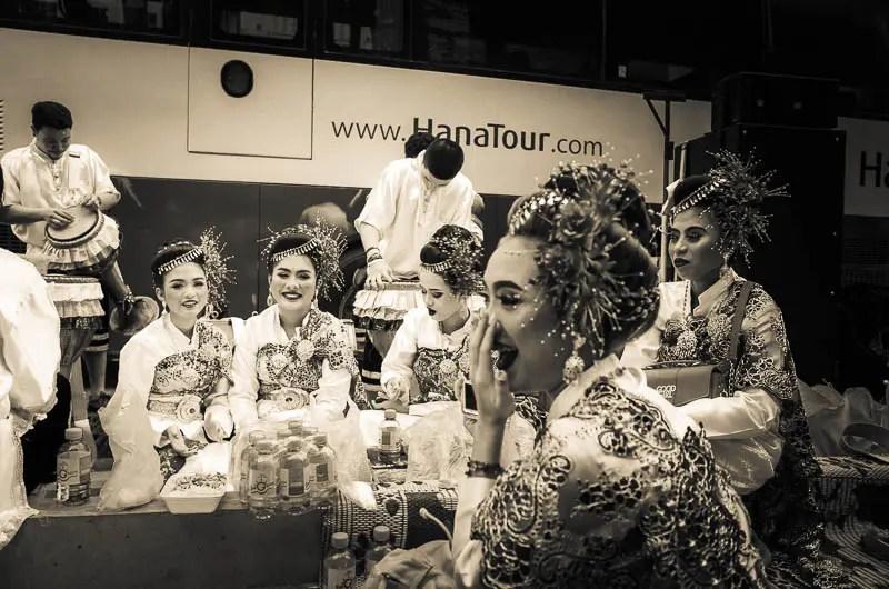 Navaratri festival dancers break