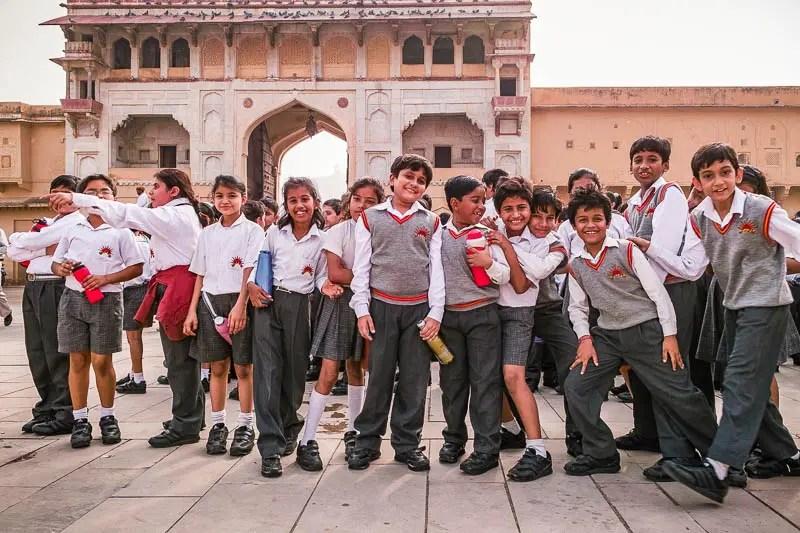 Schoolchildren visiting the Amber Fort in Jaipur