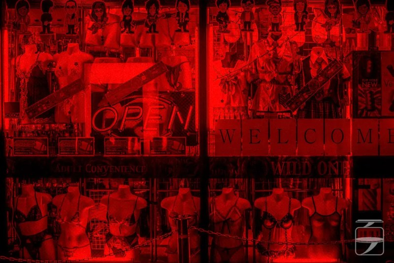 Sex shop window display
