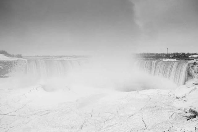 The Horseshoe Falls (Niagara Falls) and Niagara River during the polar vortex