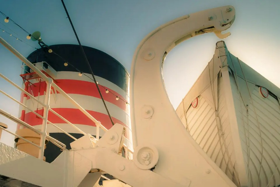 The ship's chimney and one of the life boats