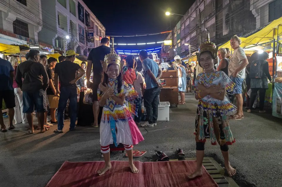 Happy Thai traditional children dancers, Ao Nang Night Market