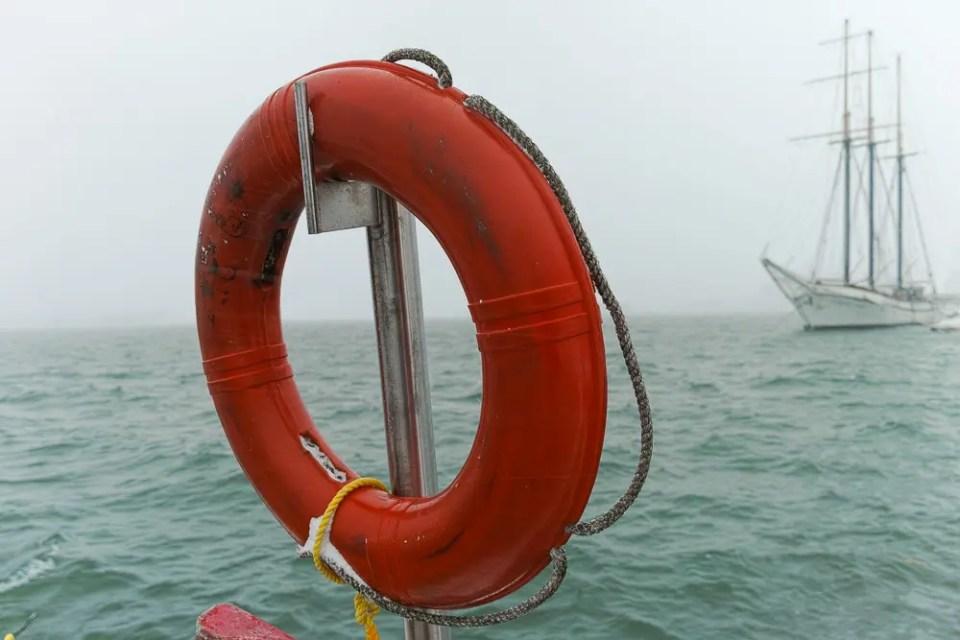 Orange ring buoy