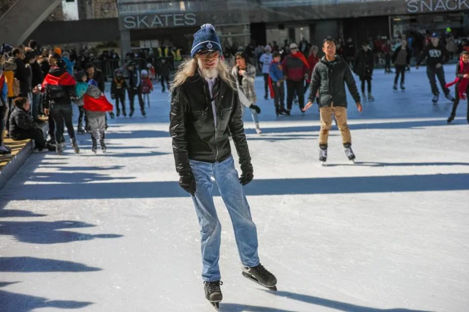 Older man skating