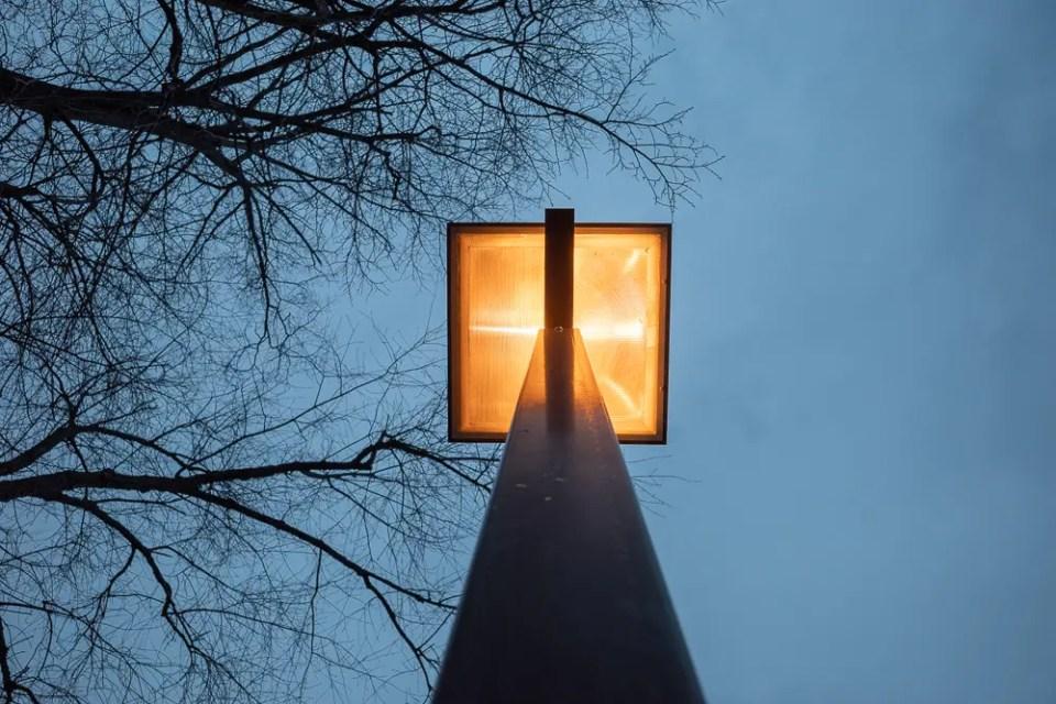 Orange light on bluish sky