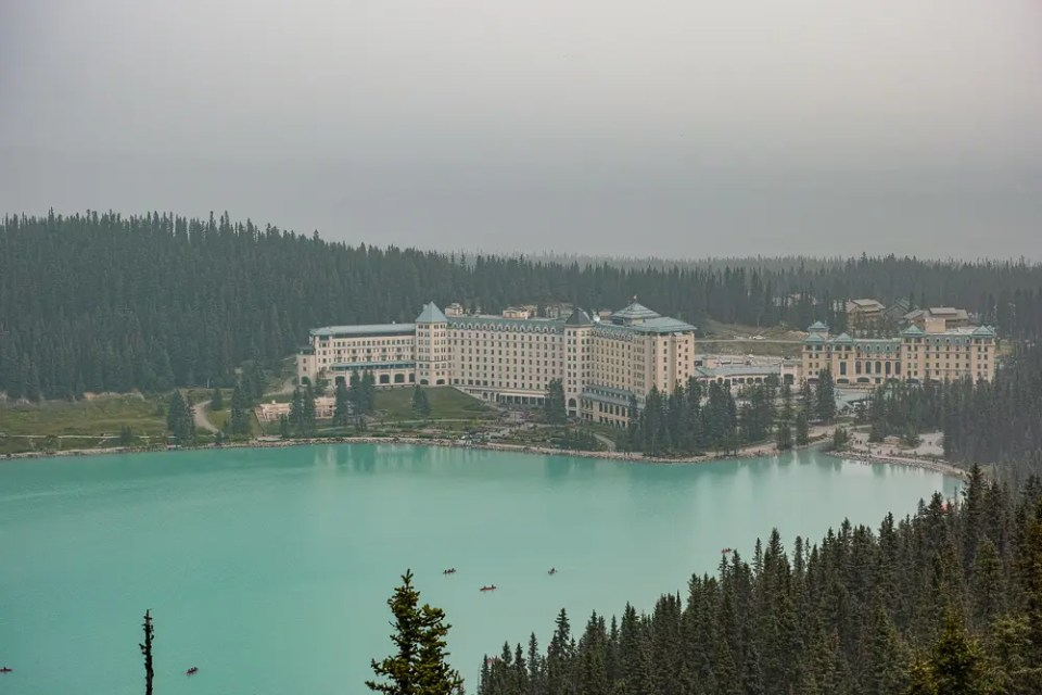 Lake Louise and Fairmont Chateau aerial view