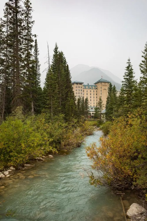 The back side of Fairmont Chateau Lake Louise