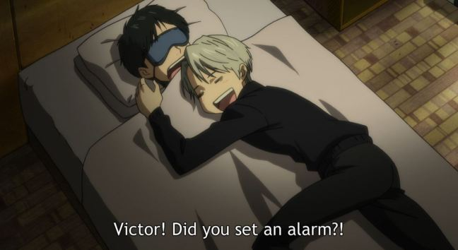 Yuri on Ice Episode 7 - Victor puts Yuri to bed.