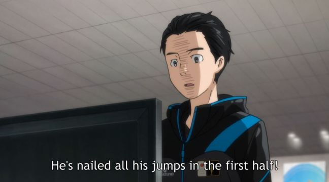 Yuri on Ice Episode 7 - Yuri shocked by Guang Hong's performance.