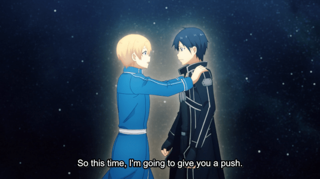 Sword Art Online Alicization Episode 24 - Eugeo encouraging Kirito