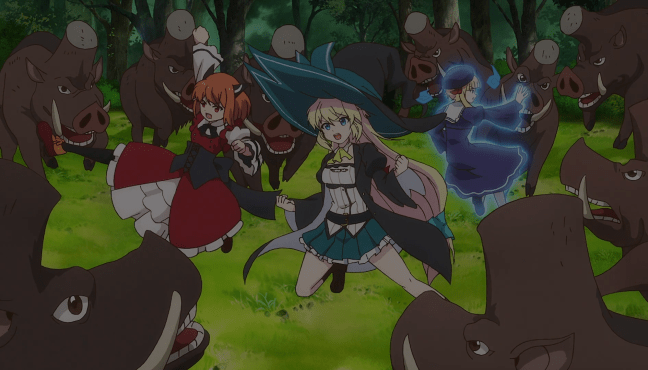 Azusa, Laika and Rosalie go boar hunting. Image from I've Been Killing Slimes for 300 Years.