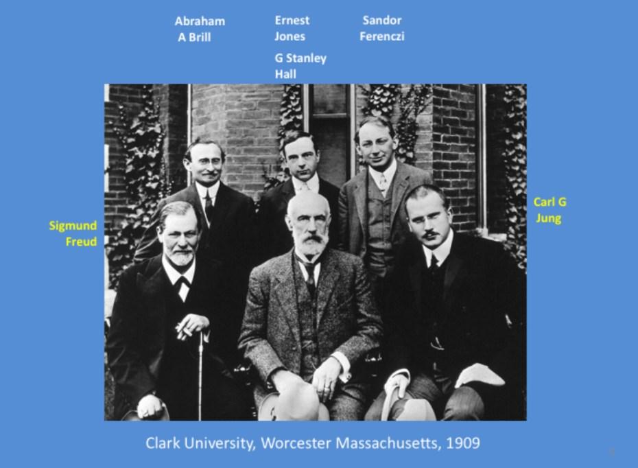Sigmund Freud, Carl Jung, Abraham Brill, Ernest Jones, G Stanley Hall, Sandor Ferenczi