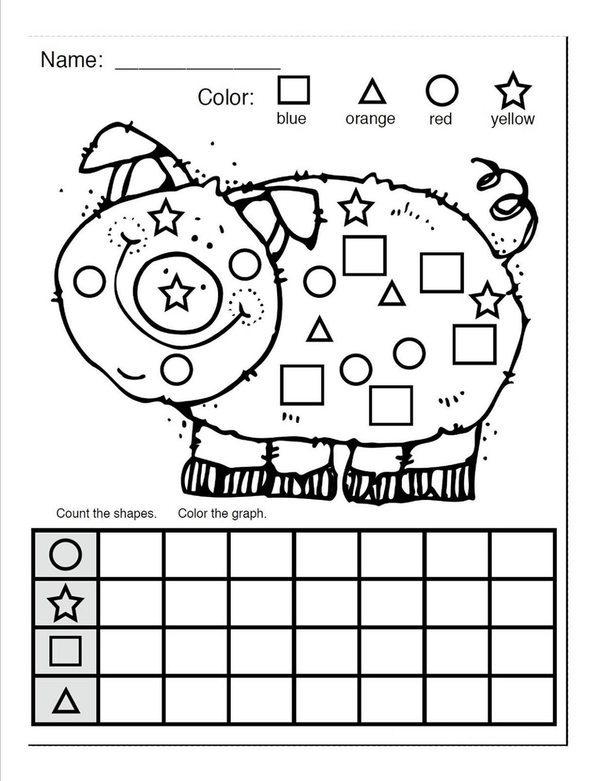 Color By Shape Worksheet Easy