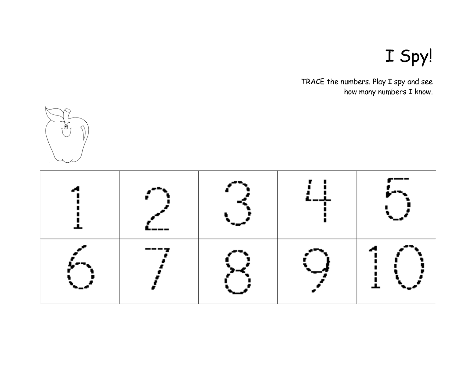 Printable Traceable Numbers 1 10