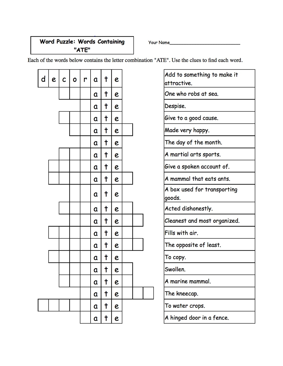 Puzzle Words Worksheet To Print