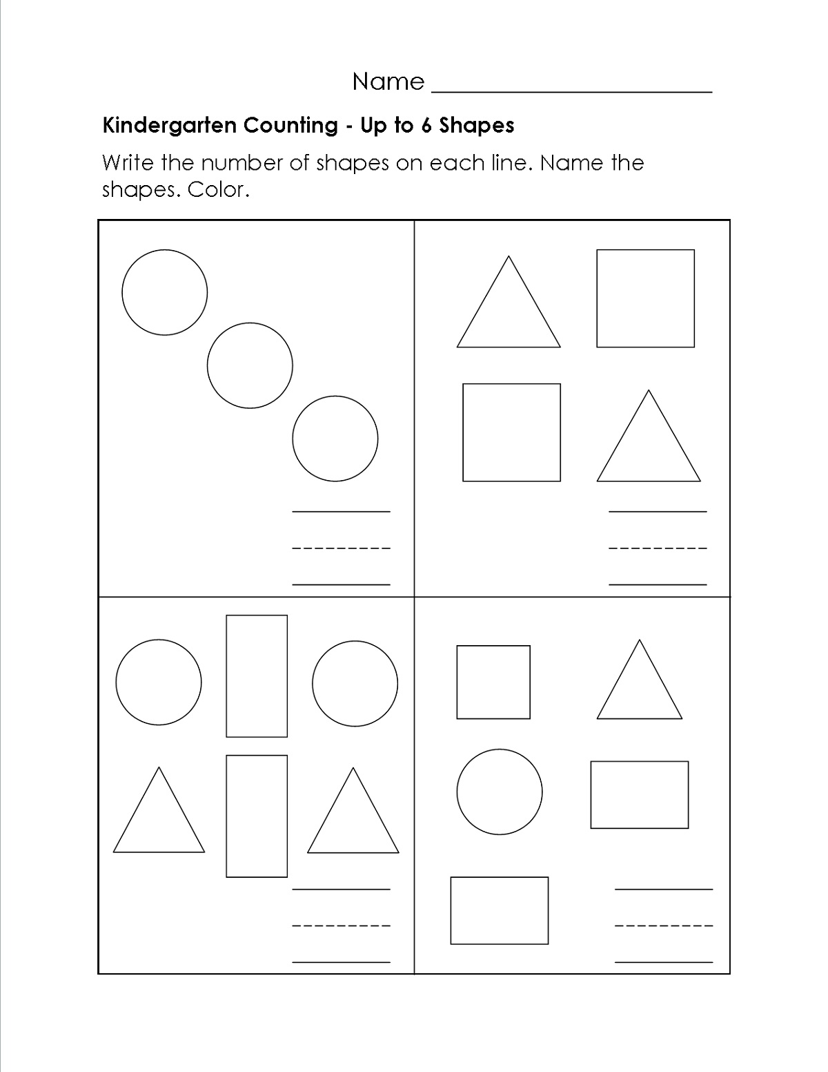 Shapes And Numbers Charts And Worksheets