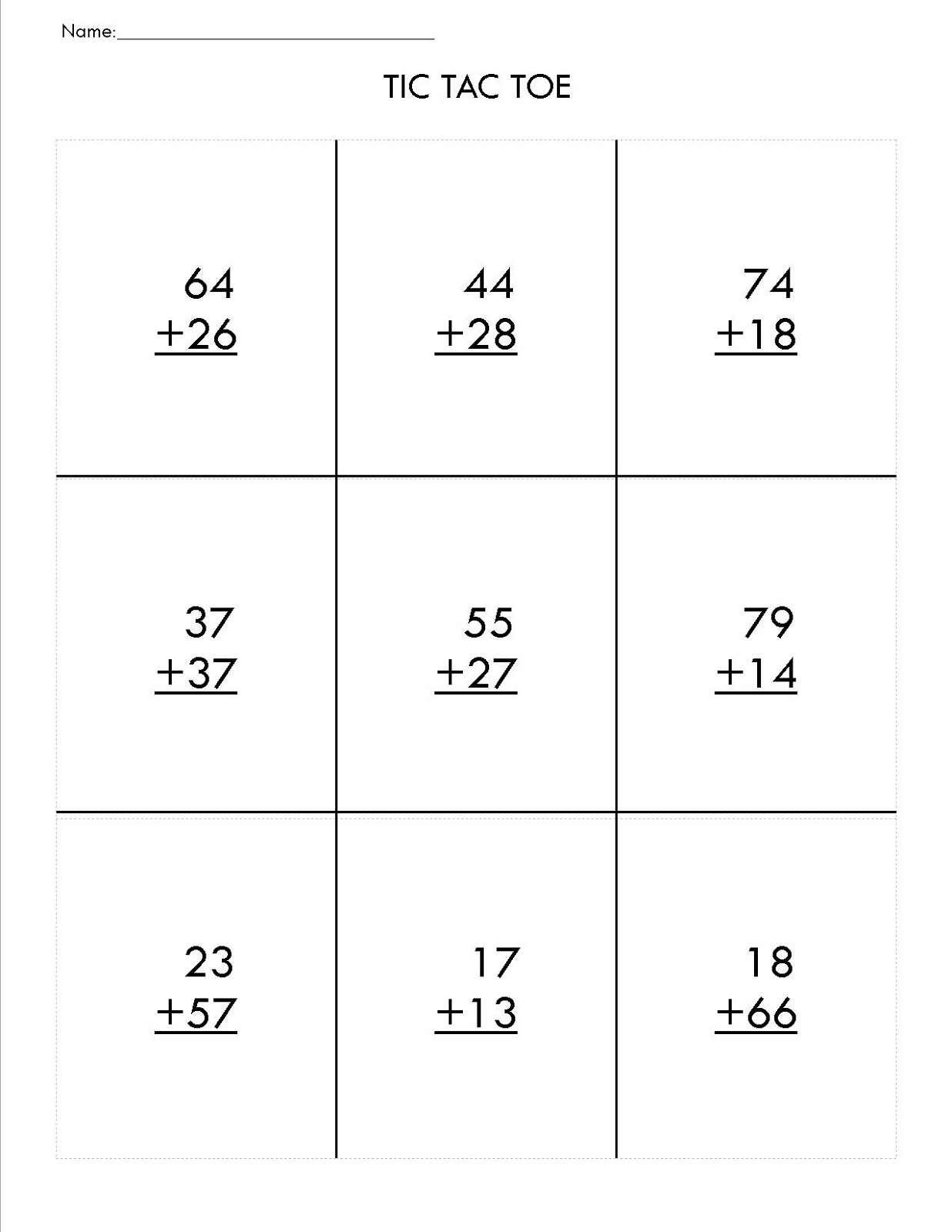 Two Digit Math Worksheets To Print