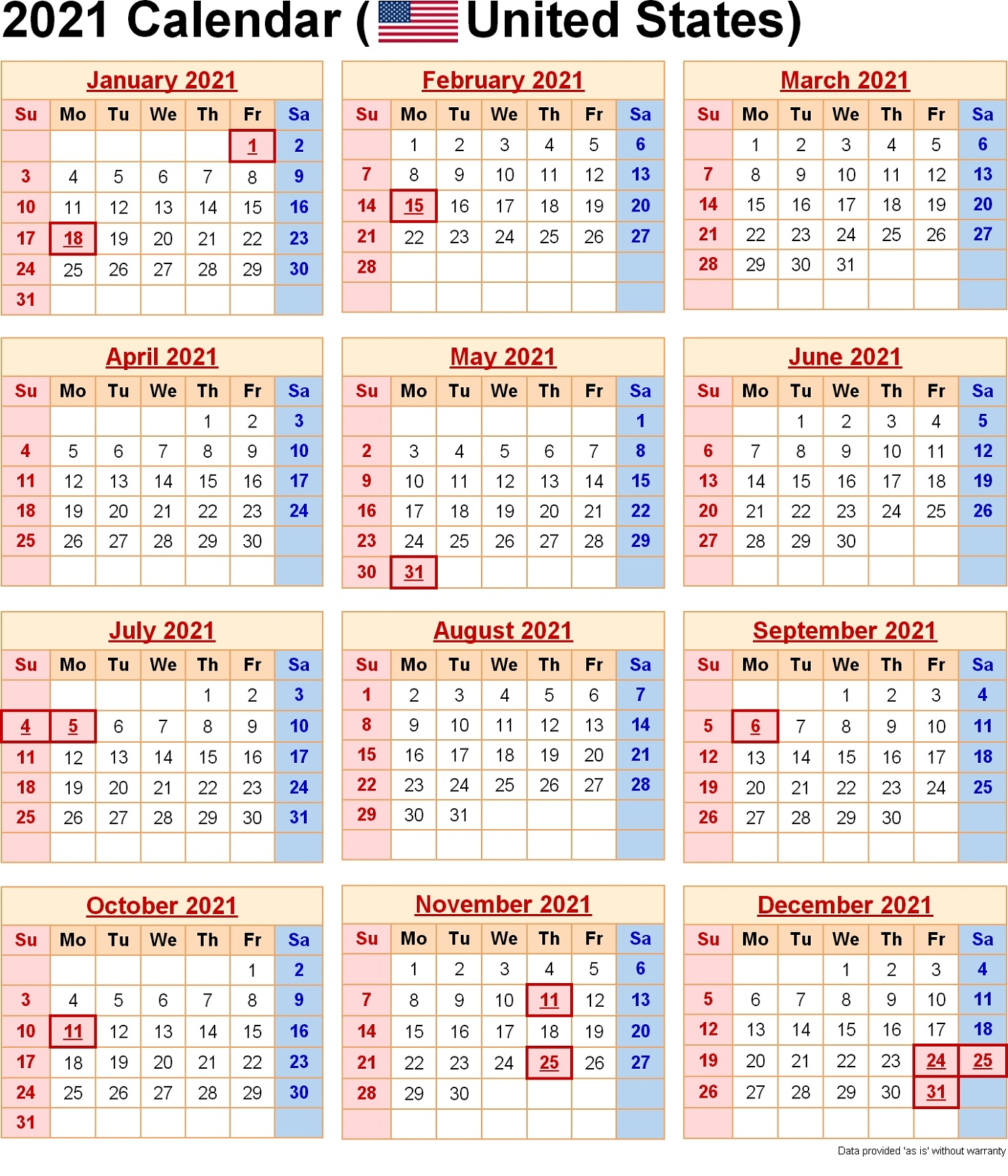 In addition to providing a fresh start, a new calendar can keep you organiz. 2021 Yearly Calendar with Holidays Templates | 101 Activity