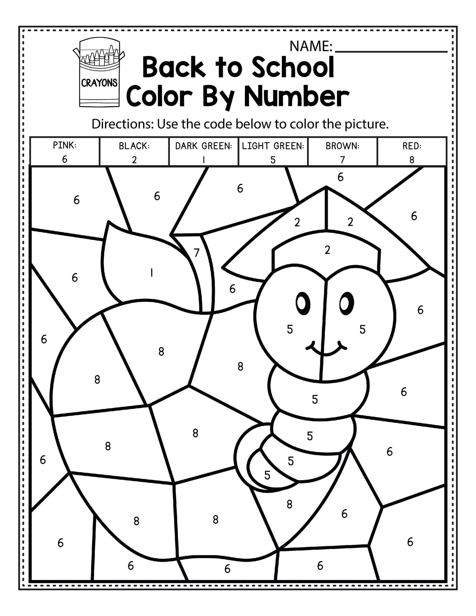 Easy Color By Number Worksheets For Kindergarten